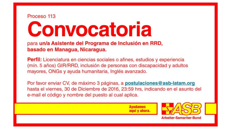 Asistente del Programa de Inclusión en RRD