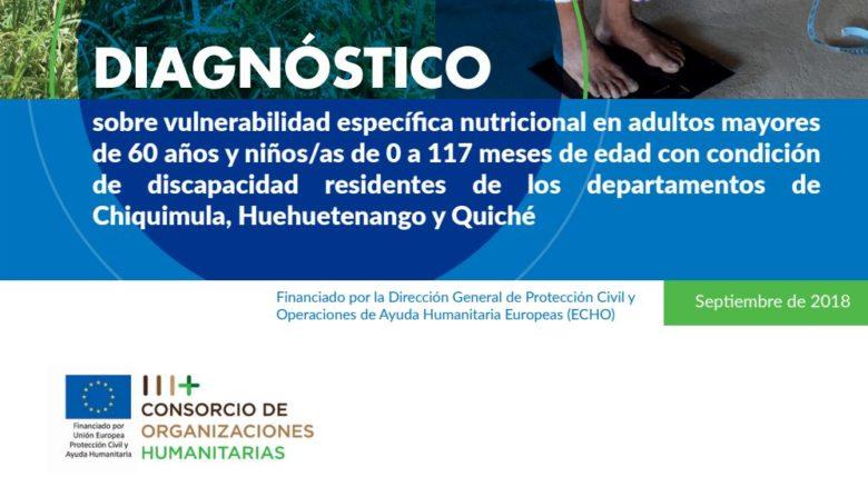 Diagnóstico sobre vulnerabilidad específica nutricional en adultos mayores de 60 años y niños/as de 0 a 117 meses de edad con condición de discapacidad residentes de los departamentos de Chiquimula, Huehuetenango y Quiché