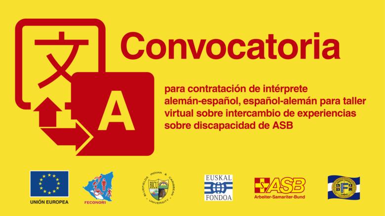 Intérprete alemán-español, español-alemán para taller virtual sobre intercambio de experiencias sobre discapacidad de ASB